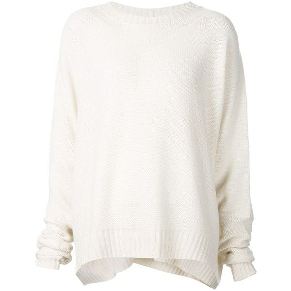 Urban Zen oversized sweater found on Polyvore featuring tops, sweaters, jumpers, haut, shirts, white, shirts & tops, corset style tops, white jumper et cashmere sweaters