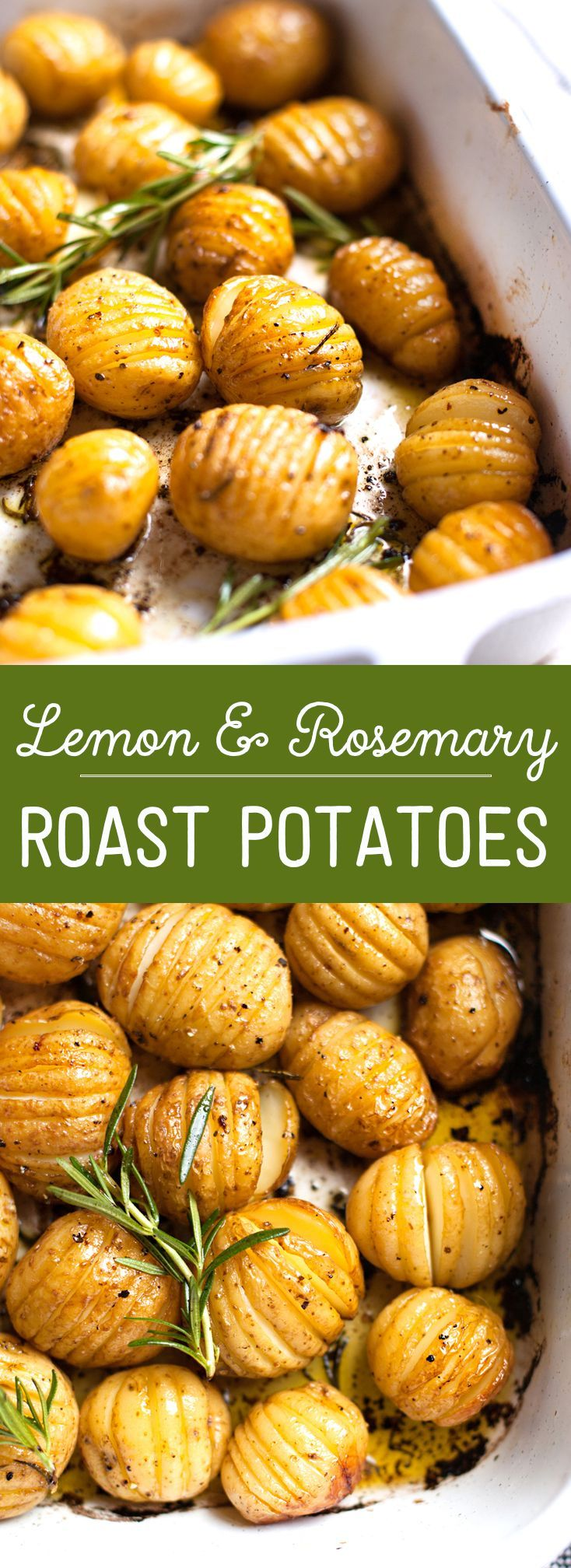 Rosemary and Lemon Roasted Baby Potatoes. Only a few ingredients are needed for this recipe and they are al clean eating friendly! Pin now to make for dinner later this week.