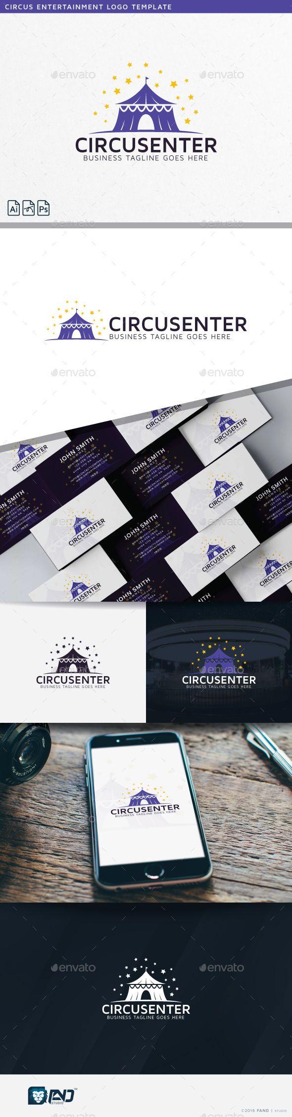 Circus Entertainment Logo Template #caravan #carnival #center #child #children #circus #clean #clown #creative #creativity #entertainment #fun #happy #imaginative #industry #international #magic #marquee #night #professional #purple #show #sky #spectacle #stars #studio #tent #unique #vector #yellow