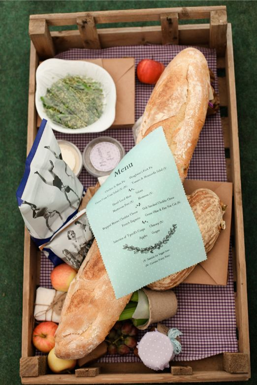 Great idea for wedding food ~ each table has its own rustic wedding picnic in a vintage crate, with a few handmade touches