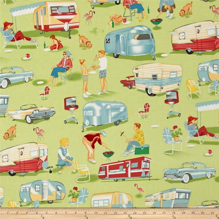 Designed for Michael Miller, this retro fabric features an allover design of scenes from a trailer camp and is perfect for quilting and craft projects as well as apparel and home decor accents. Colors include turquoise, silver, coral, white and yellow on a green background.