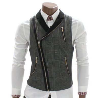 Doublju Mens Checks Zip up Vest Waistcoat (AV3) $39.97 Amazon.com