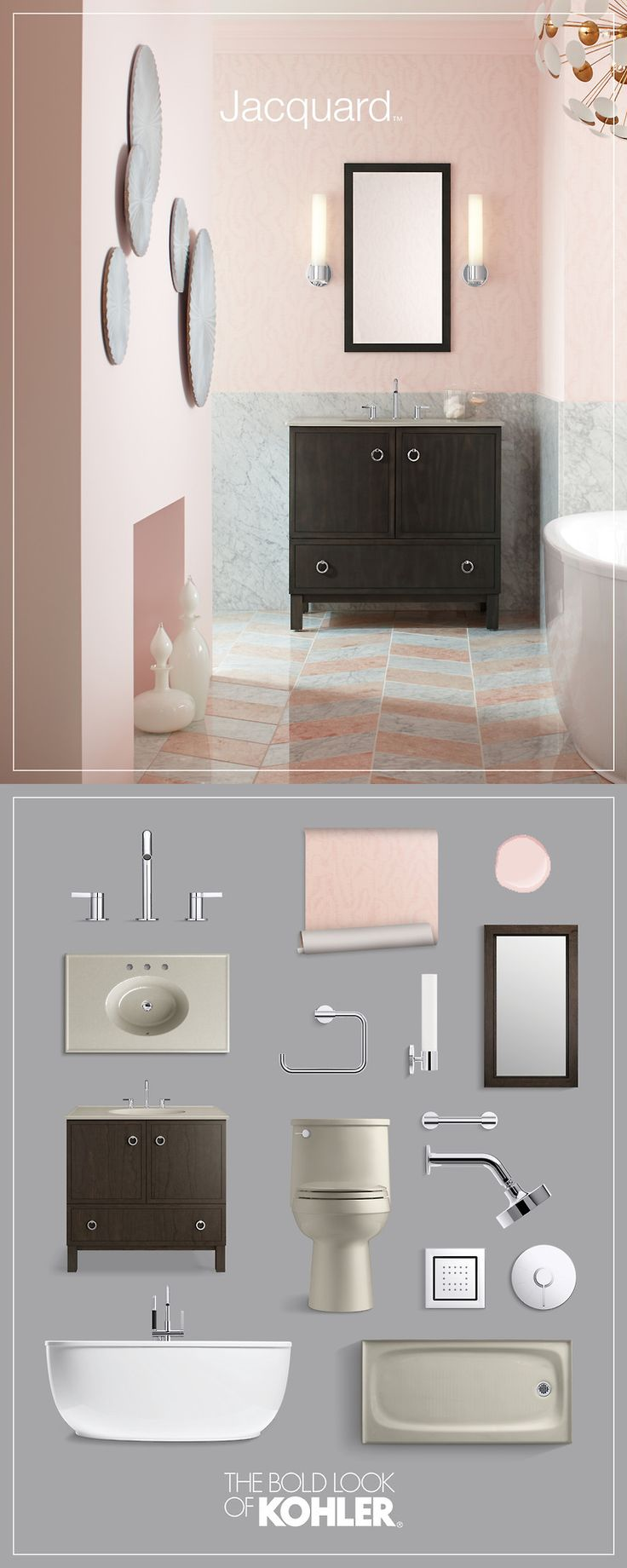 Photo Gallery For Website Get the look Pink Bathroom design ideas Kohler Jacquard Vanity and freestanding bath