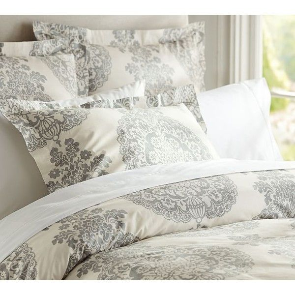 Pottery Barn Lucianna Medallion Duvet Cover ($79) ❤ liked on Polyvore featuring home, bed & bath, bedding, duvet covers, grey, damask duvet, pottery barn duvet, damask bedding, pottery barn pillow shams and pottery barn bedding