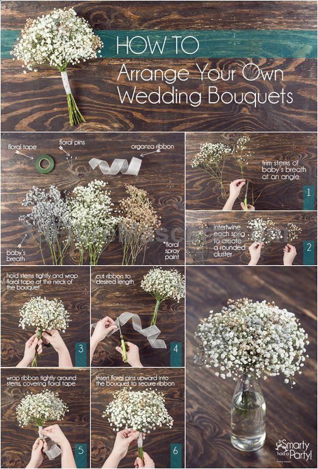 How to arrange your own wedding bouquets! | SmartyHadAParty.com #weddings #wedding #marriage #weddingdress #weddinggown #ballgowns #ladies #woman #women #beautifuldress #newlyweds #proposal #shopping #engagement