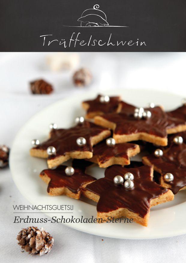 Erdnuss-Schokoladen-Sterne #cookies #christmas
