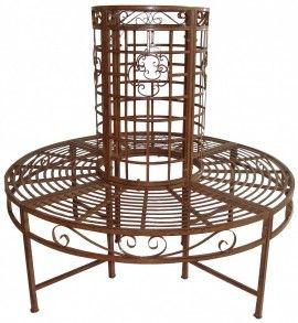 Poze BAM203 - Banca metalica circulara, copac, gradina - Maro/Bronz