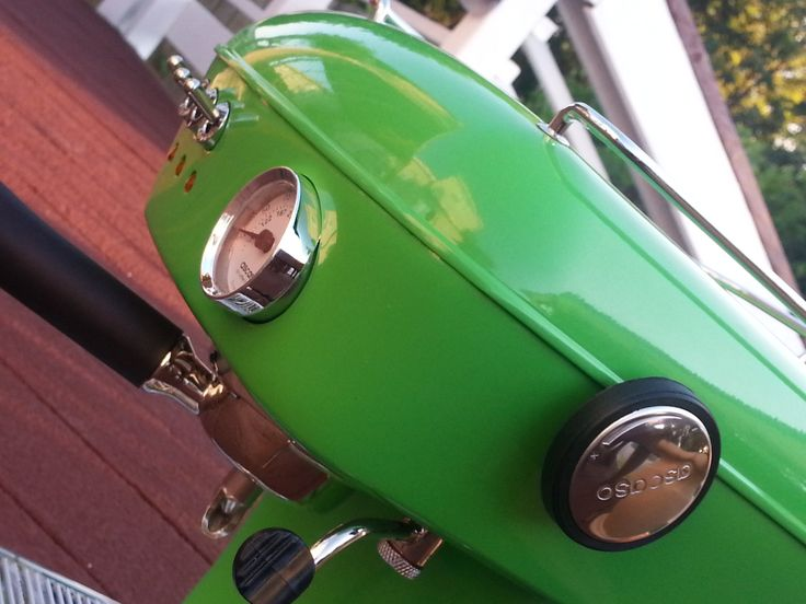 Front side view of a beautiful Meadow Green Ascaso Dream UP espresso machine.