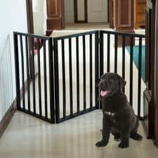 Easy Up Dark Brown Freestanding Wooden Pet Gate