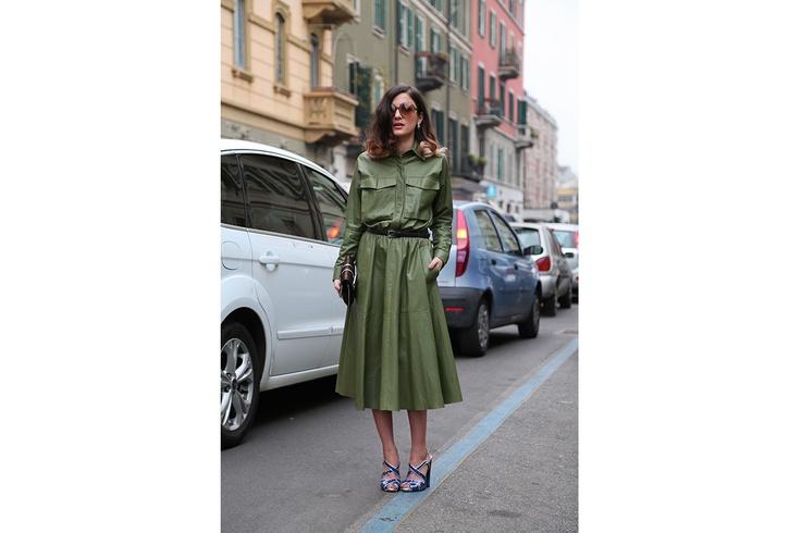 Eleonora Carisi e il leather dress verde