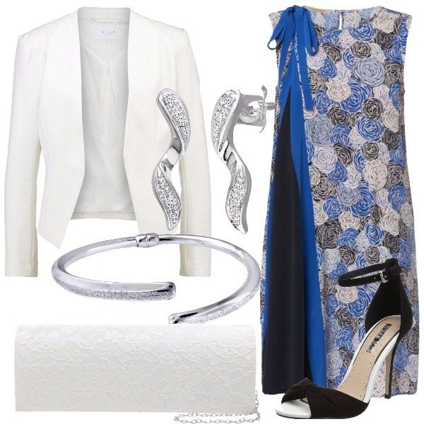 Outfit composto da vestito a fantasia floreale con fiocco su una spalla, blazer bianco, sandali con tacco a spillo e cinturino, pochette con chiusura magnetica, bracciale in argento e orecchini in oro bianco.