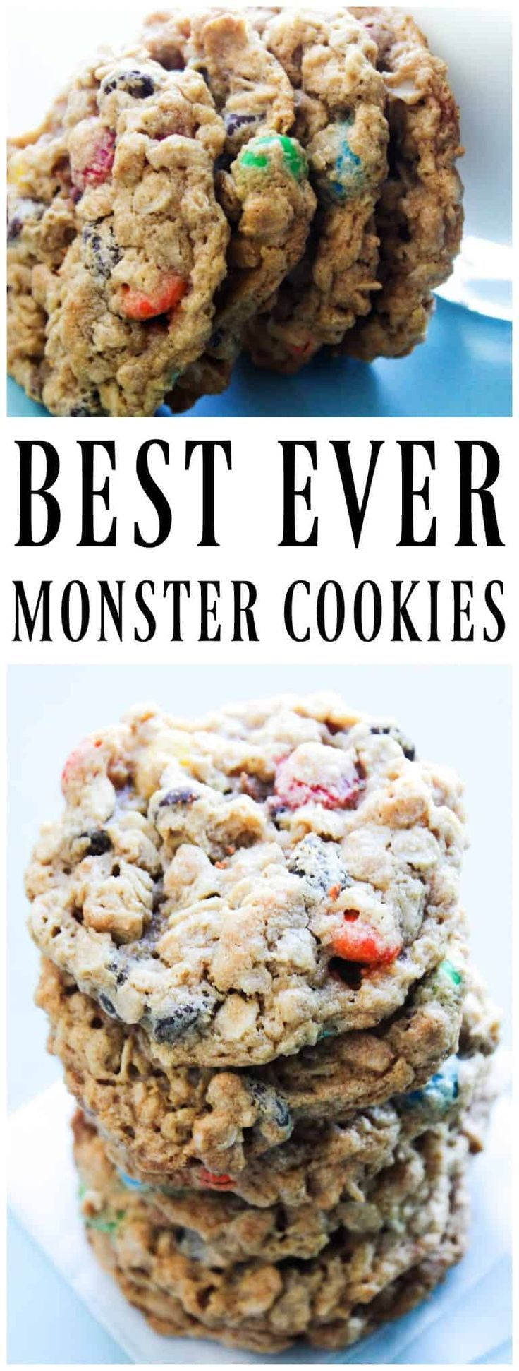 BEST EVER MONSTER COOKIES - loaded with M&M candies, peanut butterand oats, these are soft, chewy and irresistible. Making them the best cookie ever. #cookies #oatmeal #peanutbutter