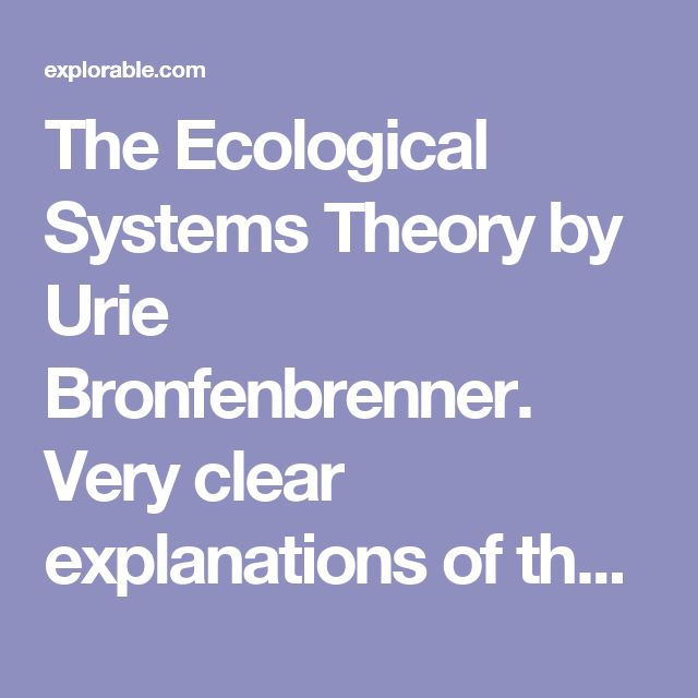 The Ecological Systems Theory by Urie Bronfenbrenner. Very clear explanations of the different nest of circles for Bronfenbrenner's ecological theory. User friendly for pd in layman's terms.