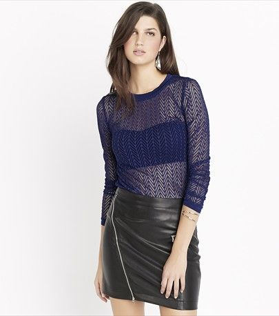 Mesh Long Sleeve Top Could be jazzed up with a sparkly bandeau top underneath