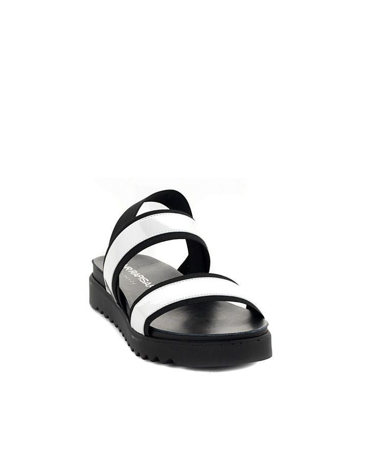 Black/silver flat sandals with strips and elastic strap flexible rubber sole Sole: 2,5 cm