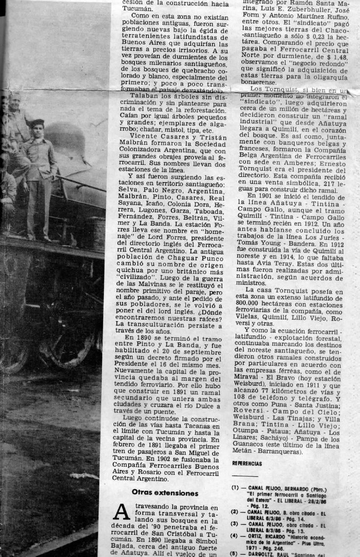 (1) Los ferrocarriles en Santiago del Estero (1° Parte) | María Mercedes Tenti - Academia.edu