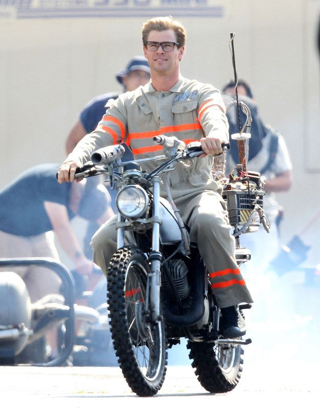 "And lo, it is a production that has already brought more than its fair share of glory. Including these unauthorized shots of Chris Hemsworth's character on a motorbike. | Chris Hemsworth In ""Ghostbusters"" Has Unlocked A New Realm Of Thirst"