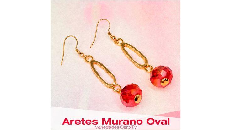 Cómo hacer Aretes con Murano Rojo y dijes oval Cod: 27169   Variedades C...