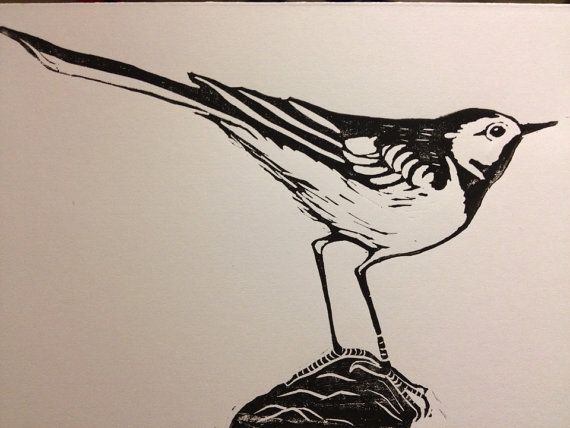 Wagtail  hand printed linocut card  by LucyCooperArt on Etsy, £3.50