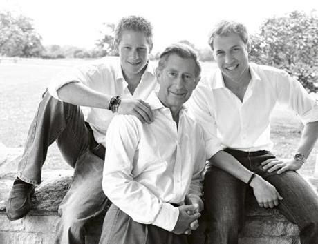 Charles Philip Arthur George -- Prince of Wales w/ sons - Prince  Harry of Wales and Prince William, Duke of Cambridge