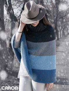 Yarnspirations.com - Caron Cozy Cowl Cape - Patterns  | Yarnspirations | crochet | free pattern | poncho