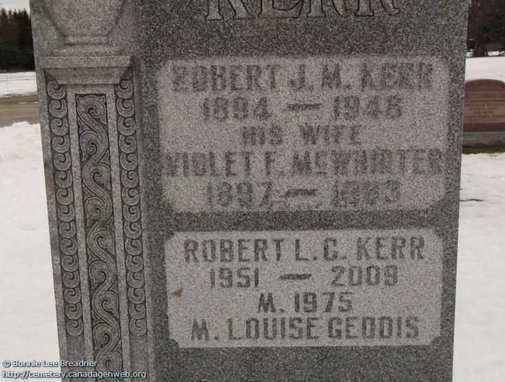 ON: Thornbury & Clarksburg Union Cemetery (Violet F E McWHIRTER), CanadaGenWeb's Cemetery Project