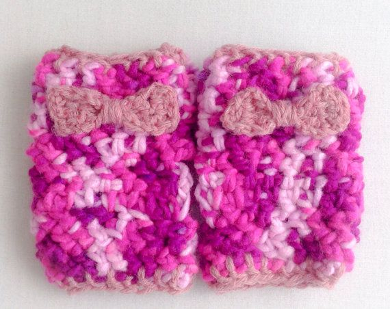 Fingerless gloves crochet  pink cotton candy bow gloves on Etsy, $12.00