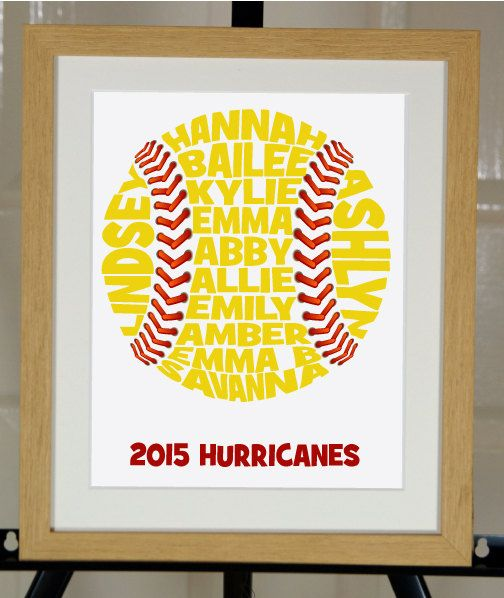 Personalised Baseball or Softball Word Art Gift by ArtyAlphabet on Etsy