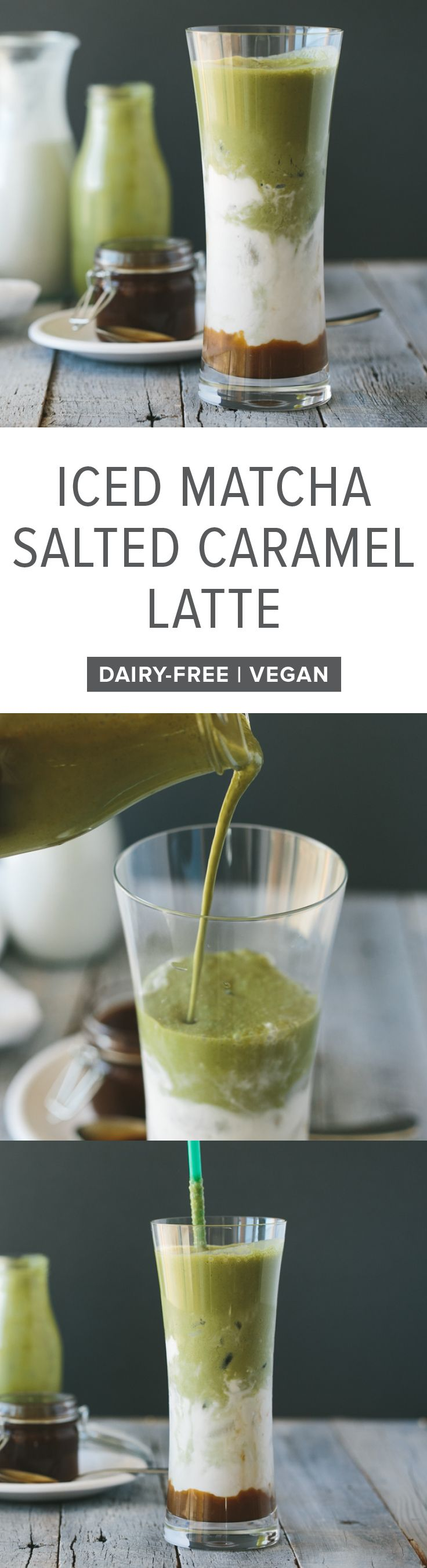 (dairy-free, vegan, paleo) Iced matcha and salted caramel latte. A layered and sweet iced matcha latte.