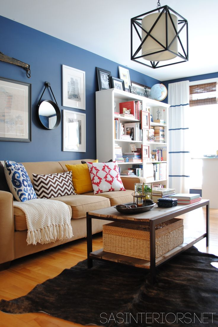 Light blue living room - Love This Navy Yellow Home Office Family Room Makeover By Sas Interiors Sasinteriors Blue Living