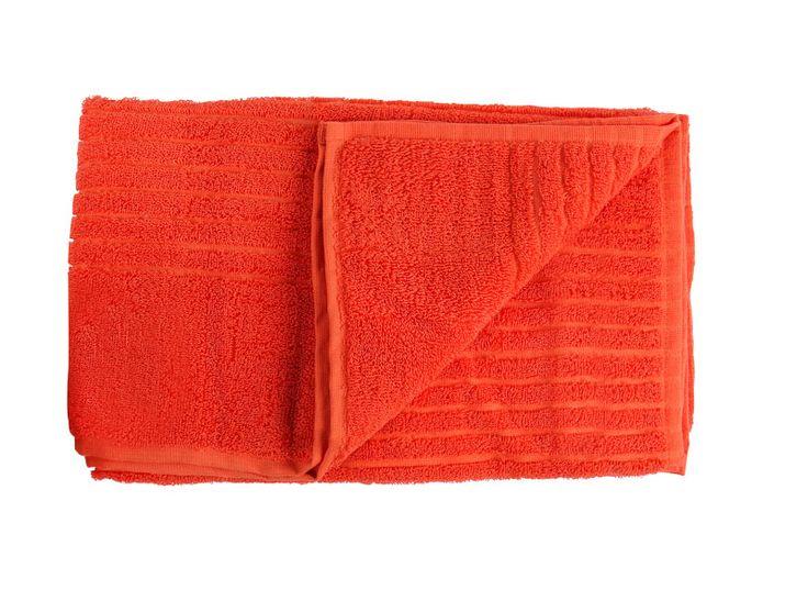 Badhandduk ribbad i frotté, orange 90x150cm
