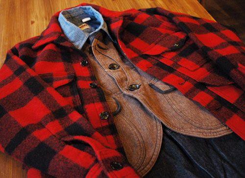 "Filson ""Washed Original Mackinaw Cruiser""  CAMCO ""Chambray Shirt""  Wrangler ""Rope Cowboy Jeans 13MWZ"""