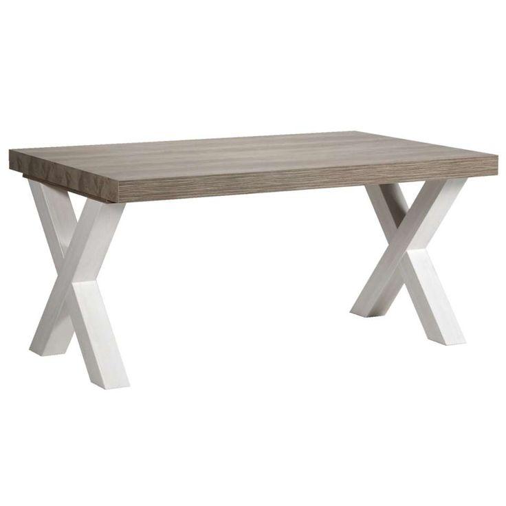 Eetkamertafel Lynn - wit eikenkleur/bruin - 77,5x184x102 cm