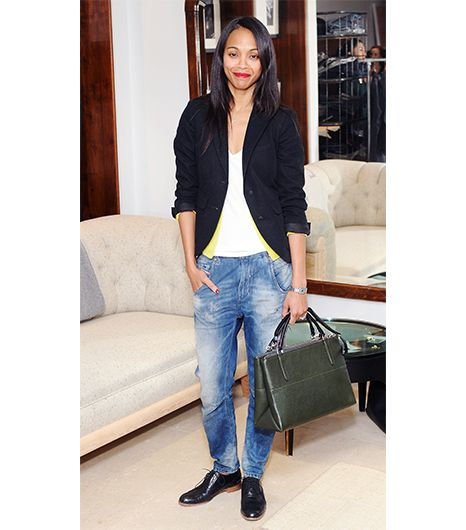 @Who What Wear - Zoe Saldana                 At a recent event in LA, Saldana played up the structured, satchel shape of her Borough Bag ($598) in Alpine, by pairing it with a menswear-inspired ensemble of brogues, boyfriend jeans, and an oversized blazer.  Brogues:  Madewell The Keaton Oxford ($188) in Wine