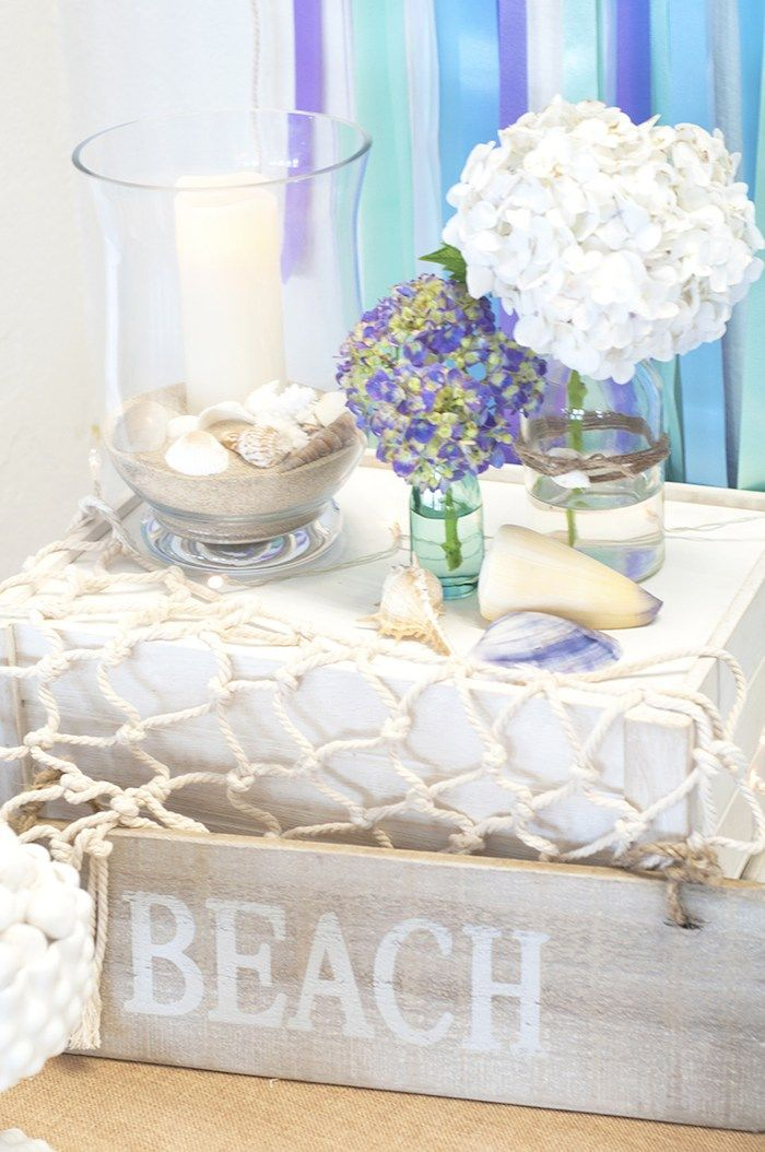 Beach Themed Engagement Party with Such Beautiful Ideas via Kara's Party Ideas KarasPartyIdeas.com #elegantbeachparty #engagementparty #part...