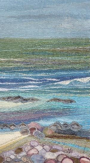 """Textile Seascapes, Noami Renouf """"My seascapes and landscapes reflect my love for the natural environment. In particular the coastline of Jersey has been a continuing source of inspiration."""" Uses layering technques with applique, burning/cuting back, machine embroidery and hand stitching"""