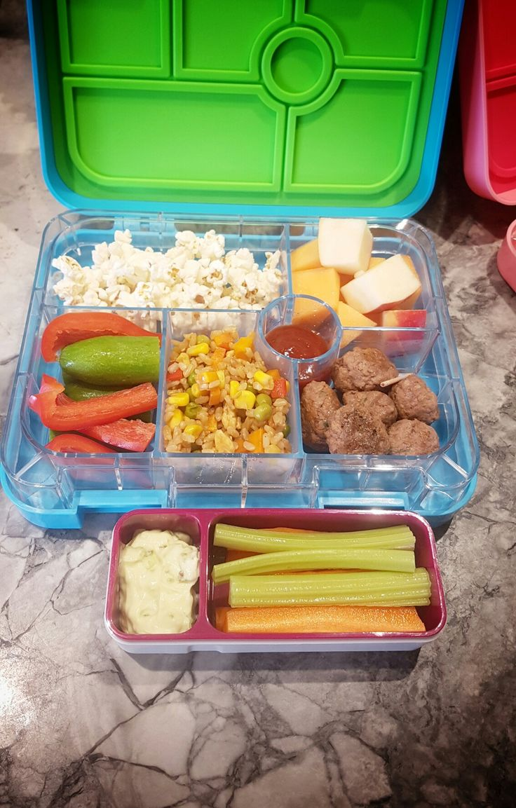 Day 1:  Crunch & Sip -  * Carrot and Celery sticks with a Gerkin relish dip.  Lunch / Morning Tea -  * Freshly made popcorn  * Rockmelon & Apple pieces * GF Meatballs with Tomato Sauce * Homemade Fried Rice * Mini Cucumbers & Capsicum Sticks or Cherry Tomatoes