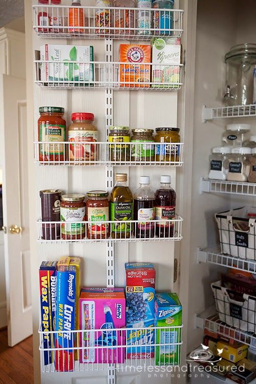 "Heather with the blog My Three Girls shares her pantry organization tips and one of her favorite new products - our elfa Door & Wall Rack! She says ""I am in LOVE!! It's simple and easy and very secure. It saves so much space in your pantry to have these extra baskets on the door where there was just wasted space."" Thanks Heather!"