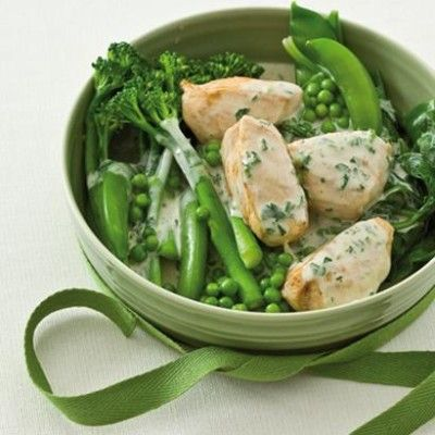 Taste Mag | Blanched tender greens with chicken breasts in a coconut and-wasabi cream @ http://taste.co.za/recipes/blanched-tender-greens-with-chicken-breasts-in-a-coconut-and-wasabi-cream/