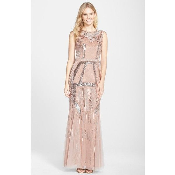 Women's Aidan Mattox Beaded Mesh Trumpet Gown ($540) ❤ liked on Polyvore featuring dresses, gowns, rose gold, sequin evening dresses, beaded evening gowns, beaded gown, aidan mattox gown and sequin ball gown