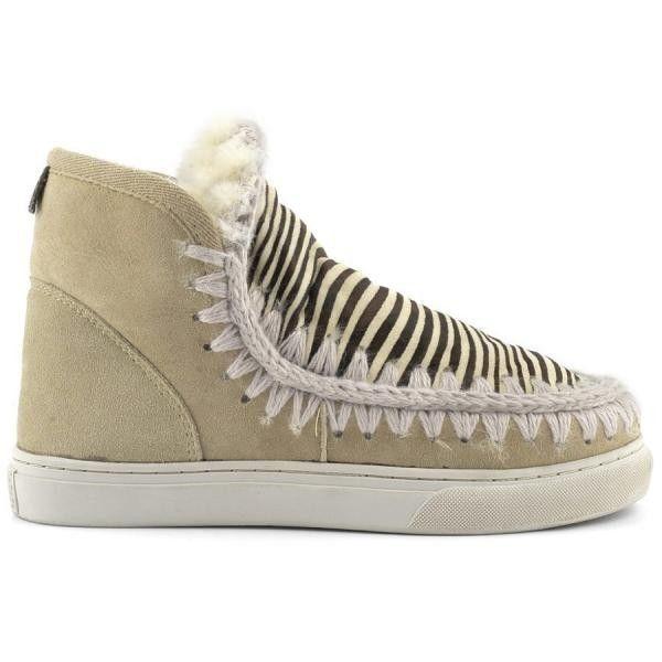 Mou Boots Mini Eskimo Sneaker Women Sand/Front Zebra Tan - MOU #mou #boots #mouboots #sneaker #women #fashion
