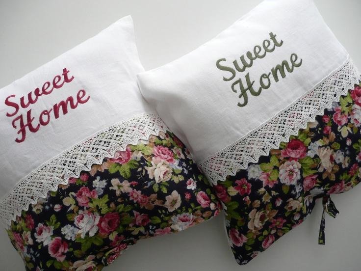 linen pillow / flower textil