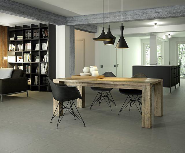 Salón. Pavimento porcelánico de gran formato. Imagen 3D fotorrealista. actua.es