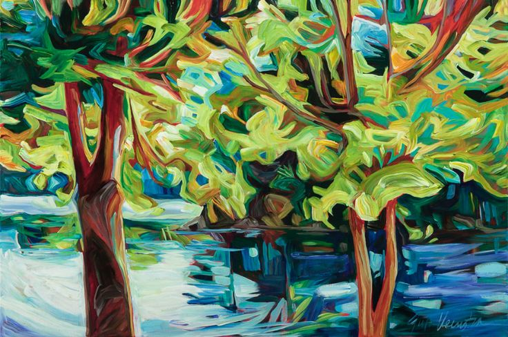 """Julia Veenstra, By The Lake, 24"""" x 36"""", acrylic on canvas"""