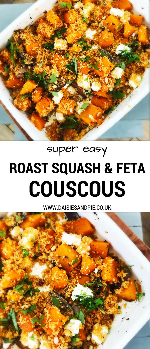 Roast squash and feta couscous, a deliciously easy vegetarian recipe - quick enough for midweek dinner and packed with flavour #vegatariandinner #squashrecipes #couscousrecipe