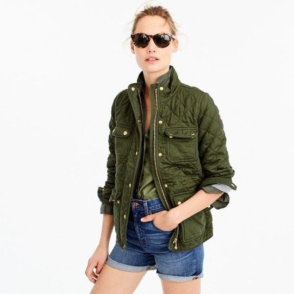 J.Crew Quilted downtown field jacket ($168) via Polyvore featuring outerwear, jackets, quilted cotton jacket, cotton jacket, cotton field jacket, j crew jacket and cotton military jacket