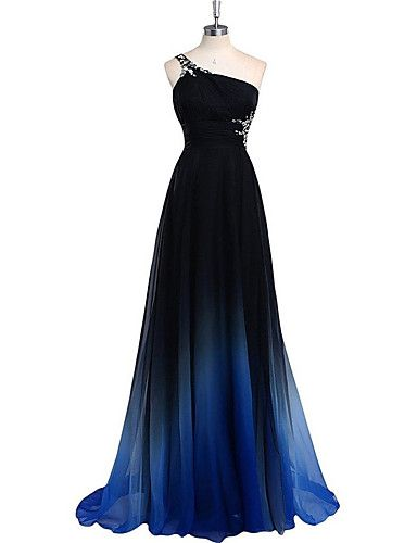 Formal Evening Dress-Multi-color Sheath/Column One Shoulder Sweep/Brush Train Chiffon 4970858 2016 – kr.876