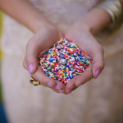 toss sprinkles instead of rice? YES! oh man... I LOVE this idea! Wish I could get remarried just to do this!