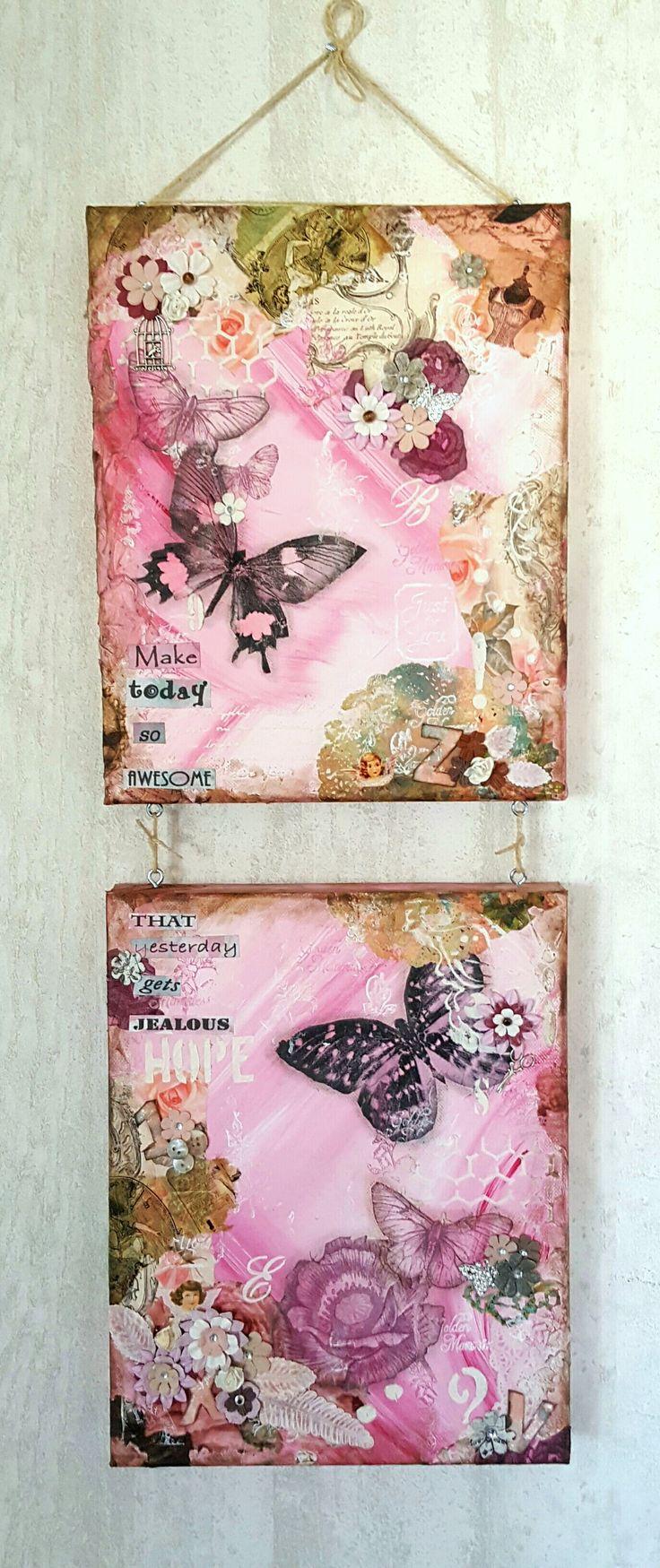 Mixed media att - pink butterflies