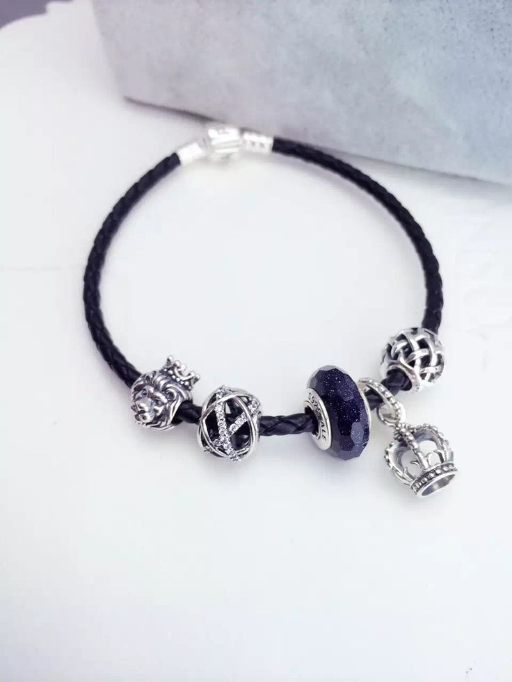 159 pandora leather charm bracelet black hot sale